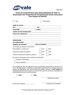 Termo de consentimento para disponibilização de Tese ou