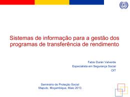Sistemas de informação para a gestão dos programas de