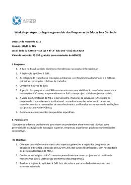 Workshop - Aspectos legais e gerenciais dos Programas de