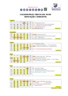 CALENDÁRIO ESCOLAR 2015 EDUCAÇÃO INFANTIL