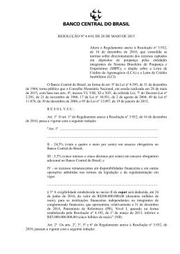 RESOLUÇÃO Nº 4.410, DE 28 DE MAIO DE 2015 Altera o