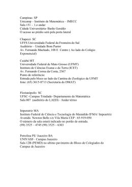 Campinas SP Unicamp – Instituto de Matemática – IMECC Sala 151