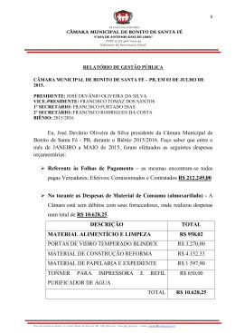 Relatório de Gestão Pública - ATE MAIO 2015