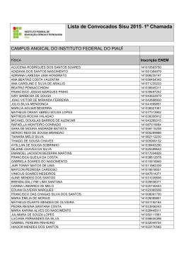 Lista de aprovados - Instituto Federal de Educação, Ciência e