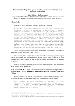22 / Jan 2009 Os documentos obrigatórios que devem estar