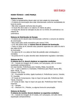 RIDER TÉCNICO – UIRÁ FRANÇA Sistema Sonoro • Todos os