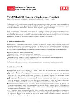 VOLUNTÁRIOS (Suporte e Condições de Trabalho)