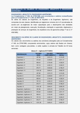 vencimentos ou salários de engenheiro, arquiteto e engenheiro