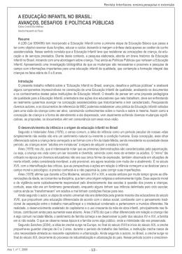 a educação infantil no brasil: avanços, desafios e políticas públicas