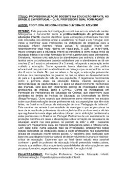 título: profissionalização docente na educação infantil no brasil e em