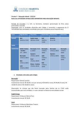 Circular 7 – Educação Infantil - 27/2/15 Referente ATIVIDADES