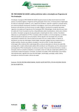 32. PRÓ-ENSINO NA SAÚDE: análise preliminar sobre a vinculação