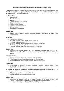 1 Área de Concentração Engenharia de Sistemas (código 3139)