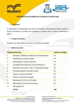 METODOLOGIA DE ENSINO DE FILOSOFIA E SOCIOLOGIA • A