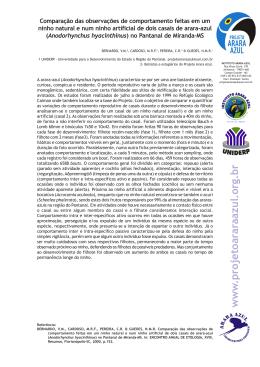 Bernardo et al. 2000. Comparação das obs. de comportamento