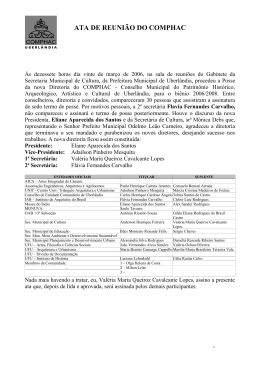 ATA DE REUNIÃO DO COMPHAC - Portal da Prefeitura de Uberlândia
