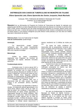 distribuição dos casos de tuberculose no município de itajubá