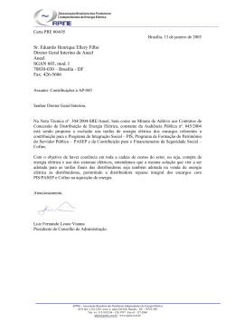 Sr. Eduardo Henrique Ellery Filho Diretor Geral Interino da Aneel