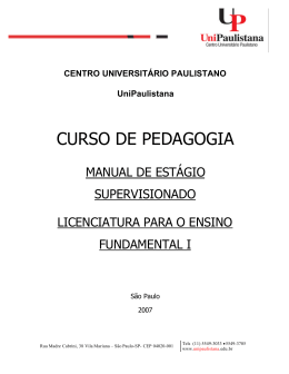 MANUAL ESTÁGIO ENSINO FUNDAMENTAL I