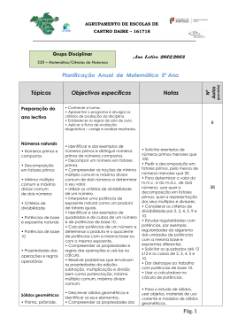 Pág. 1 Planificação Anual de Matemática 5º Ano Tópicos Objectivos