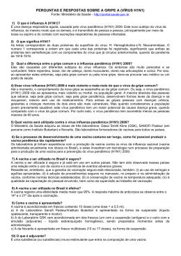 PERGUNTAS E RESPOSTAS SOBRE A GRIPE A (VÍRUS H1N1)