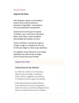 Versos Íntimos Augusto dos Anjos Vês! Ninguém assistiu ao