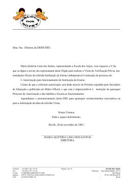 MARIA QUITÉRIA LIMA DOS SANTOS DIRETORA Ilma. Sra
