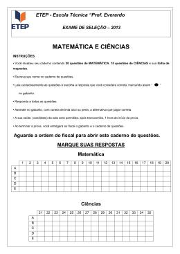 Prova Oficial de Matemática e Ciências para 23 de novembro