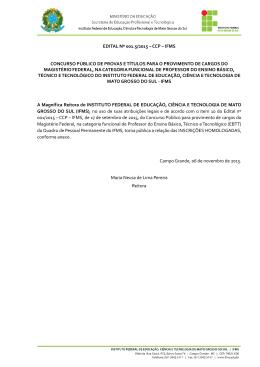 EDITAL Nº 001.5/2015 – CCP – IFMS CONCURSO PÚBLICO DE