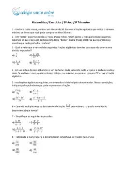 Matemática / Exercícios / 8º Ano /3º Trimestre