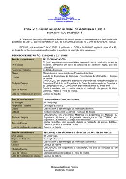 EDITAL Nº 01/2015 DE INCLUSÃO NO EDITAL DE