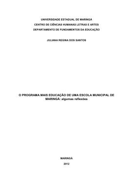 O PROGRAMA MAIS EDUCAÇÃO DE UMA ESCOLA MUNICIPAL