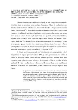 A `ESCOLA MUNICIPAL FLOR DO CERRADO`: UMA EXPERIÊNCIA