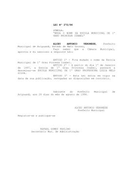 "LEI Nº 272/96 SÚMULA: ""MUDA O NOME DA ESCOLA MUNICIPAL"