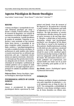 Aspectos Psicológicos do Doente Oncológico
