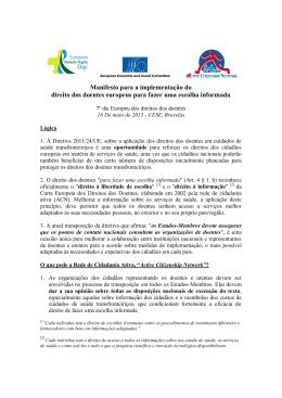 Manifesto para a implementação do direito dos doentes europeus