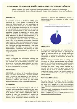 A carta para o cuidado da gestão da qualidade dos doentes crônicos