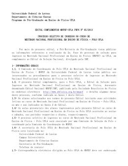 Universidade Federal de Lavras Departamento de Ciências Exatas