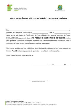 Declaração de não conclusão do Ensino Médio (preenchida