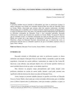 EDUCAÇÃO FÍSICA NO ENSINO MÉDIO