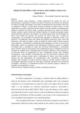 DIGREÇÃO HISTÓRICA EDUCACIONAL DOS SURDOS