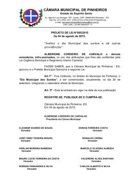 """4/8/2015 - """"Institui o dia Municipal dos surdos e dá outras"""