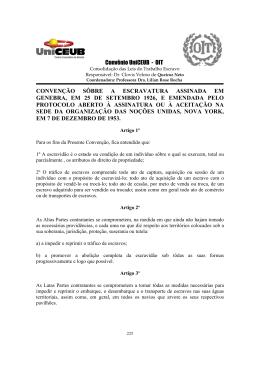 Convenção sobre a escravatura assinada em Genebra, em 25 de