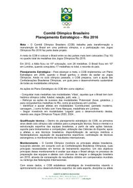 Comitê Olímpico Brasileiro Planejamento Estratégico – Rio 2016