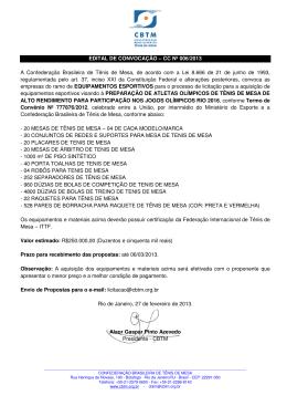 CC Nº 006/2013 A Confederação Brasileira de Tênis de Mesa, de