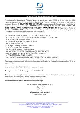 EDITAL DE CONVOCAÇÃO – CC Nº 007/2013 . A