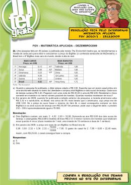 Matemática Aplicada FGV 2010/1 - 13.12.2009