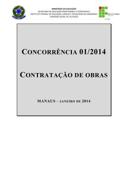 CONCORRÊNCIA 01/2014 CONTRATAÇÃO DE OBRAS