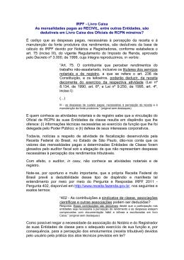 IRPF - Livro Caixa As mensalidades pagas ao RECIVIL, entre outras