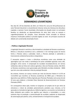 DEMANDAS LEVANTADAS - Congresso Brasileiro de Eucalipto 2015